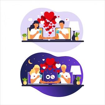 Młoda para na czacie online. relacje wirtualne i randki online oraz koncepcja sieci społecznościowych. randki w internecie. zakochany mężczyzna i kobieta. ilustracja w mieszkaniu.
