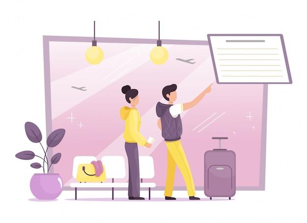 Młoda para na lotnisku ogląda ich lot. podróżować. lotnisko. ilustracja w stylu cartoon płaski.