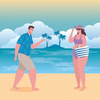 Młoda para na plaży, facet i jego dziewczyna na plaży, sezon letnich wakacji