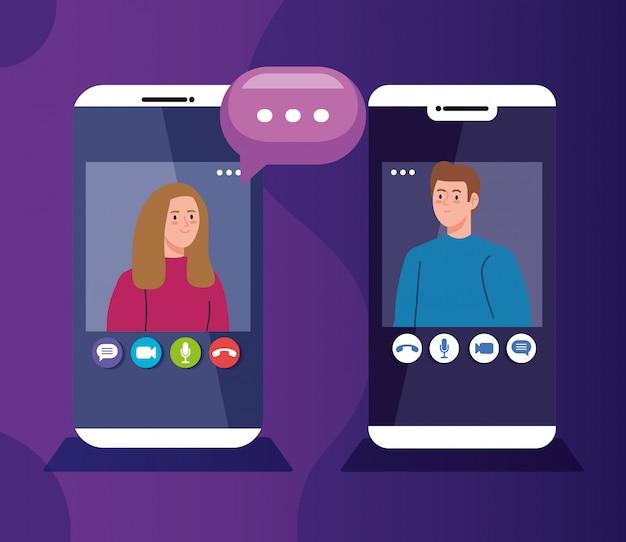 Młoda para na wideokonferencji w smartfonach