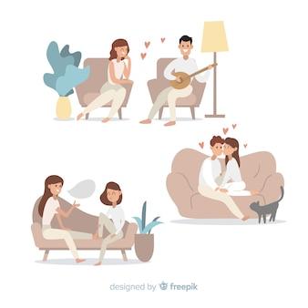 Młoda para robi działania w domu