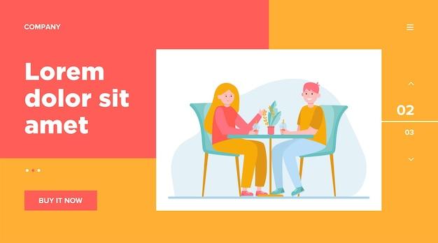 Młoda para siedzi w kawiarni i pije herbatę z bąbelkami. data, miłość, ilustracja wektorowa płaski kawy. projekt strony internetowej lub strony docelowej dotyczącej relacji i rodziny