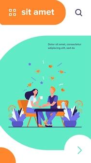 Młoda para siedzi w restauracji razem na białym tle płaskie wektor ilustracja. kreskówka romantyczna dziewczyna i facet pije kawę na randkę