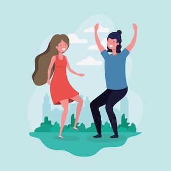 Młoda para skoki świętuje w postaci parku