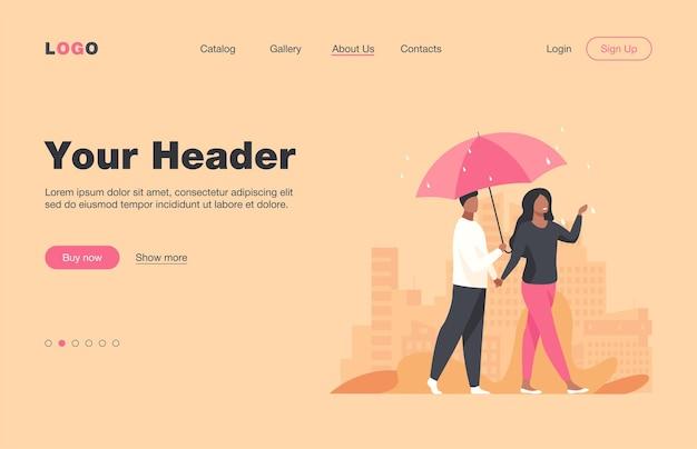 Młoda para spaceru pod parasolem w deszczowy dzień. miasto, data, płaska ilustracja ulicy. projekt strony internetowej lub strony docelowej pogody i miejskiego stylu życia