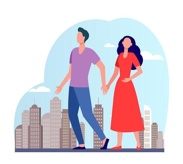 Młoda para spaceru w mieście. mężczyzna i kobieta trzymając się za ręce płaskie ilustracji wektorowych. obywatele, zajęcia na świeżym powietrzu, randki w mieście