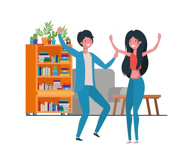 Młoda para tańczy w charakterze salonu