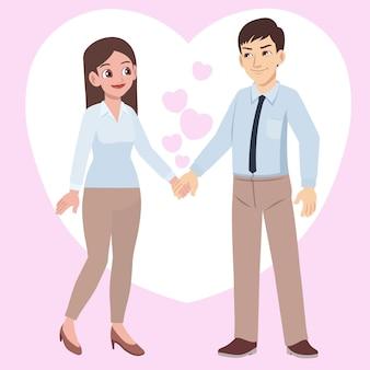 Młoda para trzymając rękę w miłości