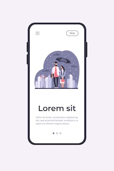 Młoda para w deszczu wektor ilustracja szablon aplikacji mobilnej