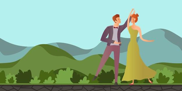 Młoda para w miłości. mężczyzna i kobieta tańczy w górskim krajobrazie. płaska ilustracja.