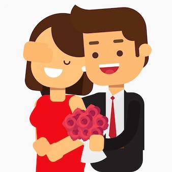 Młoda para z kwiatami randki w mieście, walentynki