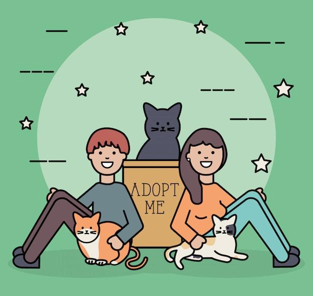 Młoda para z maskotkami słodkie koty
