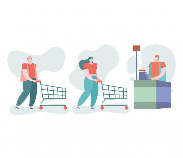 Młoda para z wózkami na zakupy w punkcie sprzedaży