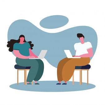 Młoda para za pomocą laptopów i pracy w domu