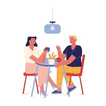 Młoda para zjeść śniadanie w hotelu lub w domu siedząc przy stole, pijąc kawę i komunikować się. mężczyźni i kobiety w związkach małżeńskich lub nowożeńców poranna rutyna relaksacyjna. ludzie z kreskówek