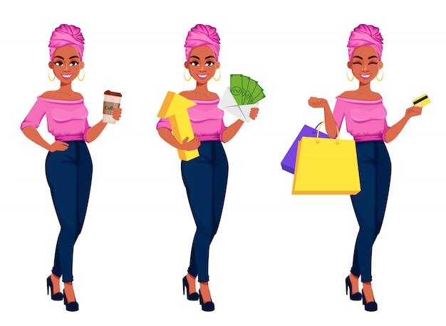 Młoda piękna amerykanin afrykańskiego pochodzenia biznesowa kobieta