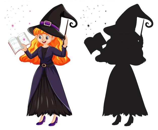 Młoda piękna czarownica trzyma różdżkę i książki w kolorze i sylwetka postać z kreskówki na białym tle