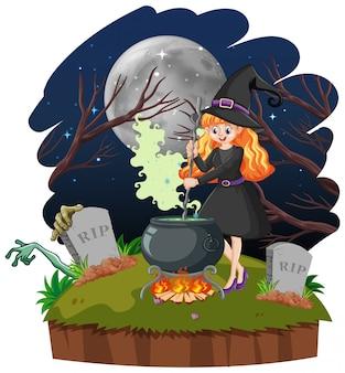 Młoda piękna czarownica z stylu cartoon czarny magiczny garnek na białym tle