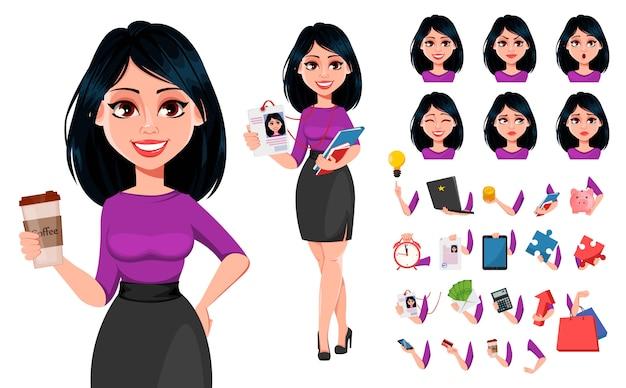 Młoda piękna kobieta biznesu o ciemnych włosach