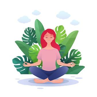 Młoda piękna kobieta praktykuje jogę w pozie lotosu płaska ilustracja kreskówka na świeżym powietrzu