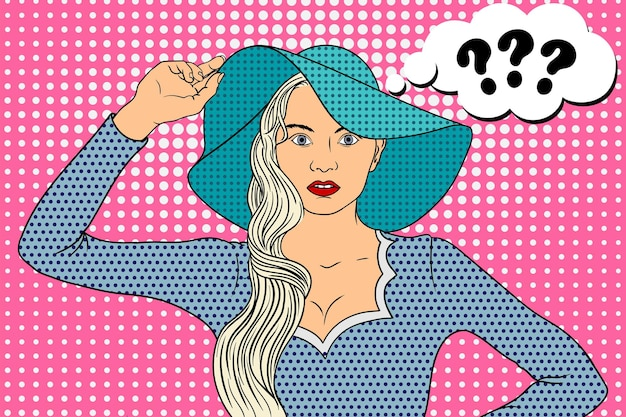 Młoda piękna kobieta w kapeluszu z rondem wygląda pytająco w stylu pop-art