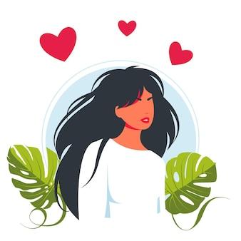 Młoda piękna kobieta w miłości, serca nad głową. pozytywna pani wyrażająca miłość do siebie i troskę. ilustracja wektorowa dla miłości siebie, ciało pozytywne, pojęcie zaufania. koncepcja miłości własnej.