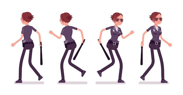 Młoda policjantka chodzenie i bieganie banner