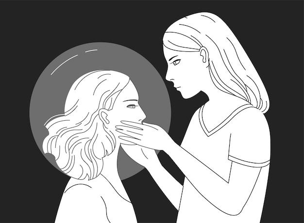 Młoda postać kobieca trzymając głowę innej kobiety ręcznie rysowane w kolorach czarnym i białym.