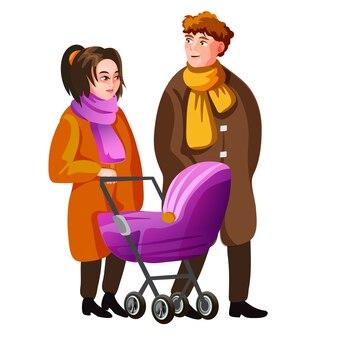 Młoda rodzina spaceru na ulicy jesień wraz z ilustracja kreskówka wózek dziecięcy.