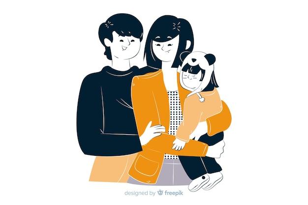 Młoda rodzina w koreańskim stylu rysunku