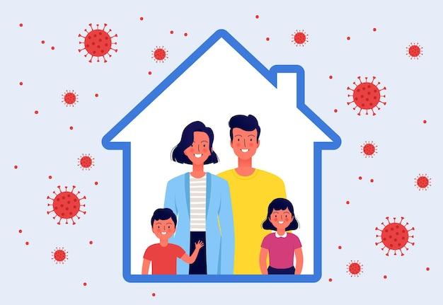 Młoda rodzina z dwójką dzieci zostaje w domu. szczęśliwi ludzie wewnątrz ikony domu. kwarantanna i ochrona przed koronawirusem
