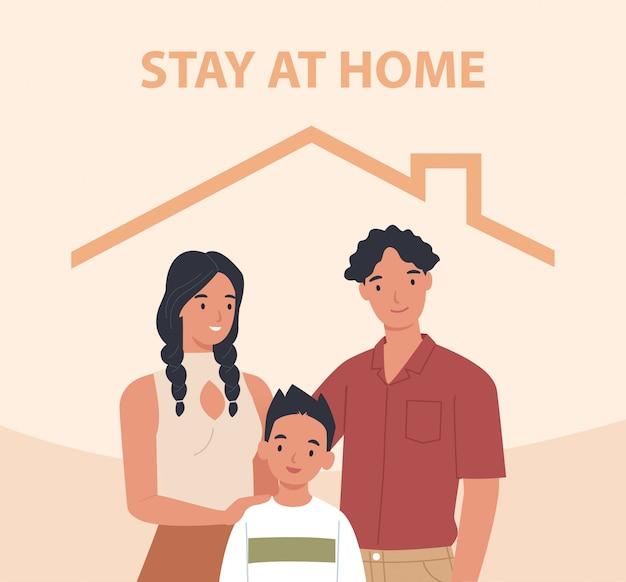 Młoda rodzina z dziećmi zostaje w domu. koncepcja kontroli choroby w 2019-ncov. ilustracja w stylu płaskiej