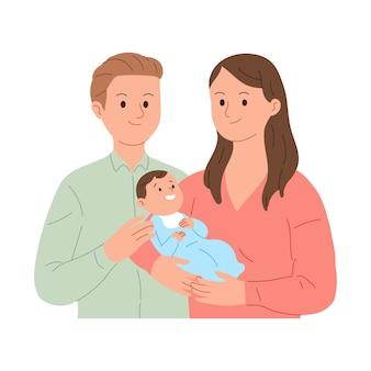 Młoda rodzina zadowolona z narodzin pierwszego dziecka
