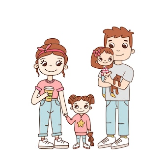Młoda rodzinna mama tata i dwie córki w stylu kreskówki