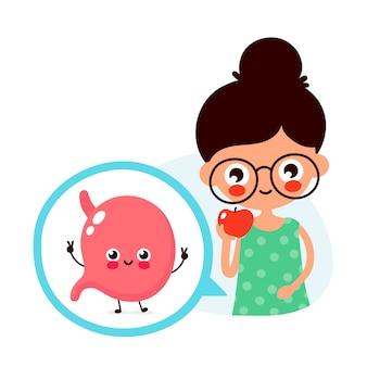Młoda śliczna kobieta je jabłczaną owoc. szczęśliwy ładny brzuch w kole. charakter ilustracja kreskówka płaski. na białym tle. jedzenie, odżywianie dla zdrowego narządu żołądka