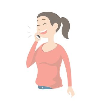 Młoda śliczna kobieta opowiada na mądrze telefonie i ono uśmiecha się szczęśliwych.