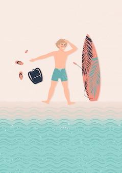 Młoda szczęśliwa mężczyzna blondynki ilustracja