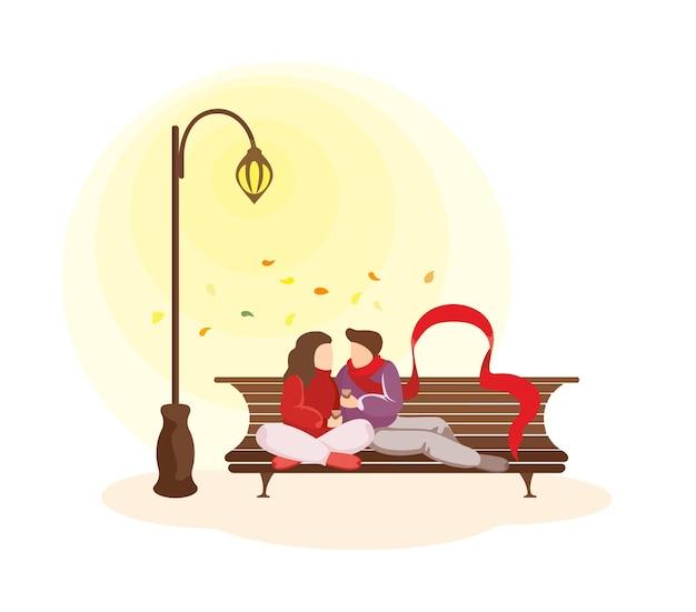 Młoda szczęśliwa para zakochanych spędza razem jesień jesień. mężczyzna i kobieta podczas romantycznej randki. ukochany mężczyzna i kobieta przytulanie na ławce w parku przy świetle latarni ulicznej. ilustracja wektorowa eps