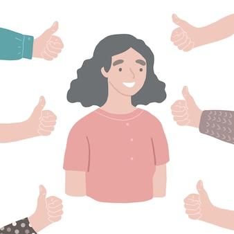 Młoda szczęśliwa udana szanowana kobieta ręce z kciukami w górę wokół ludzi wektorów zatwierdzają koncepcję