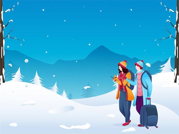 Młoda turystyczna chłopiec i dziewczynka postać używa telefon z bagaż torbą na zima krajobrazie.