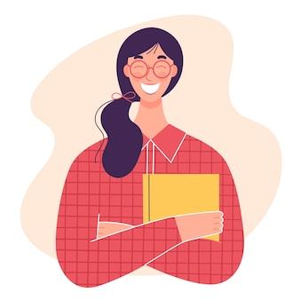 Młoda uśmiechnięta dziewczyna z książką lub zeszytem. koncepcja nauki, pracy biurowej, zamiłowania do czytania książek. postać w stylu płaski na białym tle
