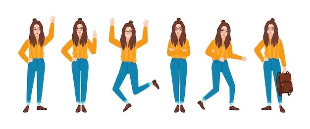 Młoda uśmiechnięta kobieta ubrana w niebieskie dżinsy i żółty sweter w różnych pozycjach.