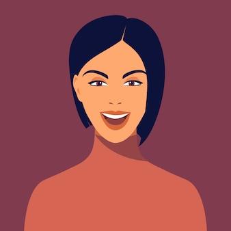 Młoda uśmiechnięta kobieta z krótkim ostrzyżeniem. portret pięknej brunetki. avatar szczęśliwa dziewczyna uśmiecha się. avatar dla sieci społecznościowych. streszczenie portret kobiety, całą twarz. ilustracja w stylu płaski
