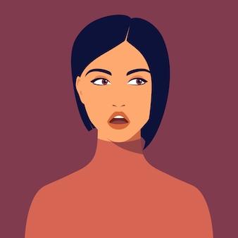 Młoda zainteresowana kobieta z krótką fryzurą. portret pięknej brunetki. avatar zainteresowana dziewczyna na portalach społecznościowych. streszczenie portret kobiety, całą twarz. ilustracja w stylu płaski.