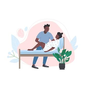 Młode afrykańskie rodziny płaskie kolorowe postacie bez twarzy. poród w domu. żona trenera męża. alternatywna ilustracja kreskówka na białym tle poród do projektowania grafiki internetowej i animacji