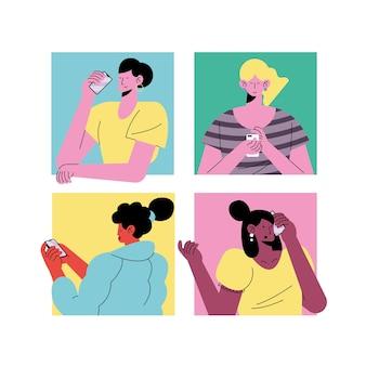 Młode cztery dziewczyny ubrane w technologię avatary postaci ilustracji