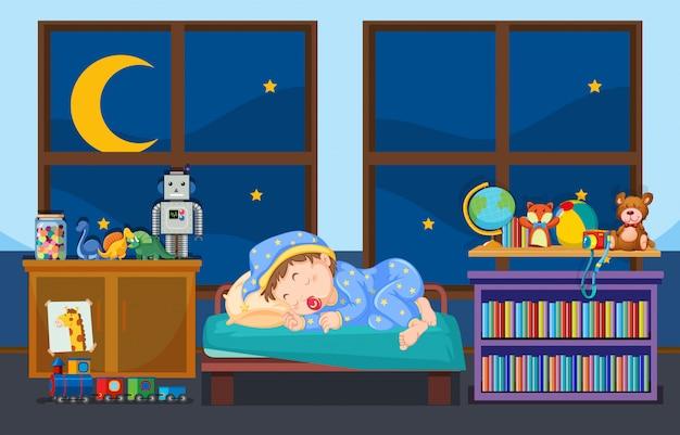Młode dziecko śpi w sypialni