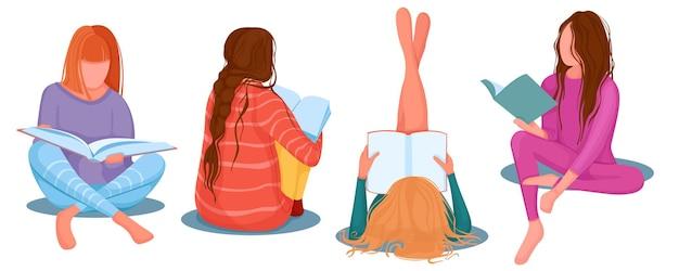 Młode dziewczyny czytają książki, oglądają czasopisma, na białym tle