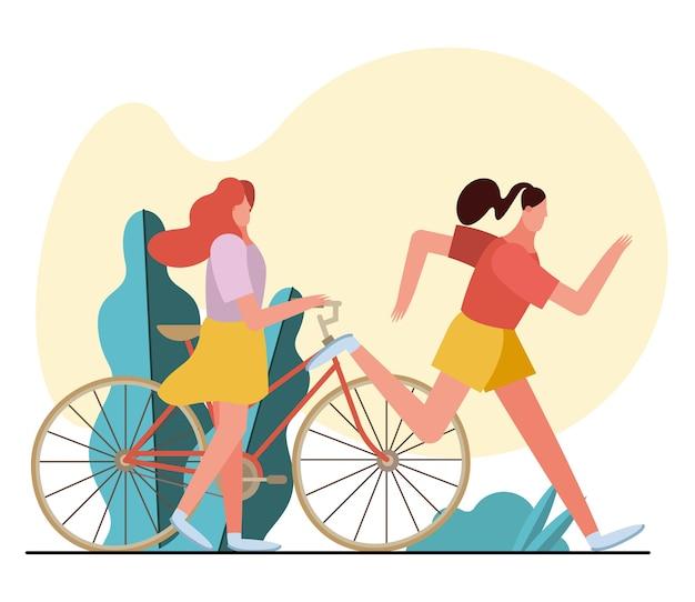 Młode kobiety biegające i postaci z jazdy na rowerze w projekcie ilustracji obozu