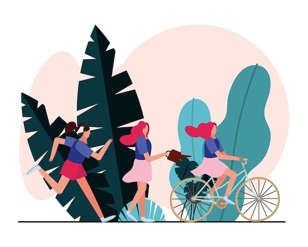 Młode kobiety bieganie i jazda na rowerze ilustracja projekt